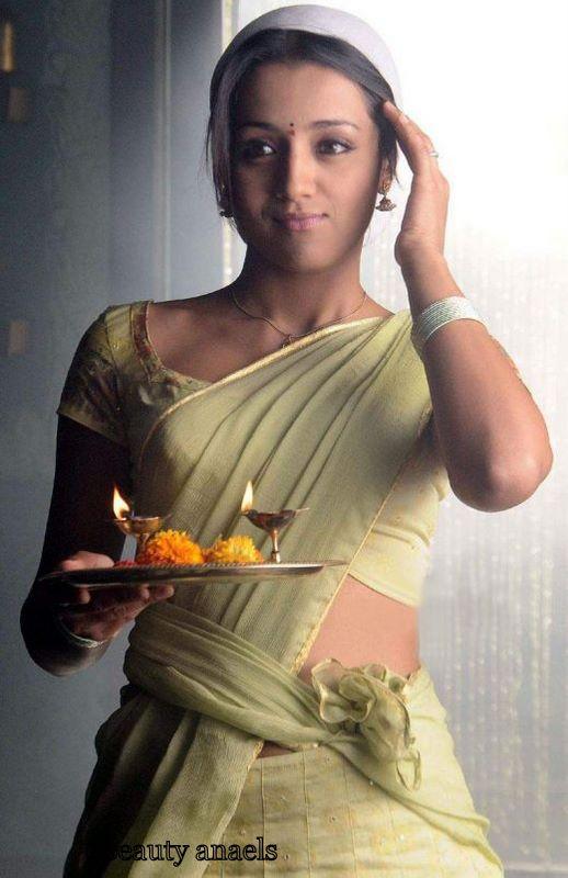 Hot Cute Actress Trisha In Half Saree Photos  Beautyanaels-3837