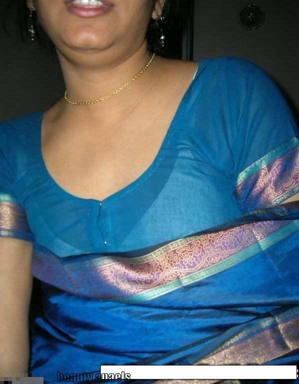 Desi Hot Tamil Mallu Aunty In Blue Blouse Show  Beautyanaels-3986
